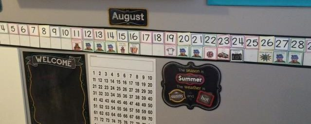 photo of linear calendar for preschool