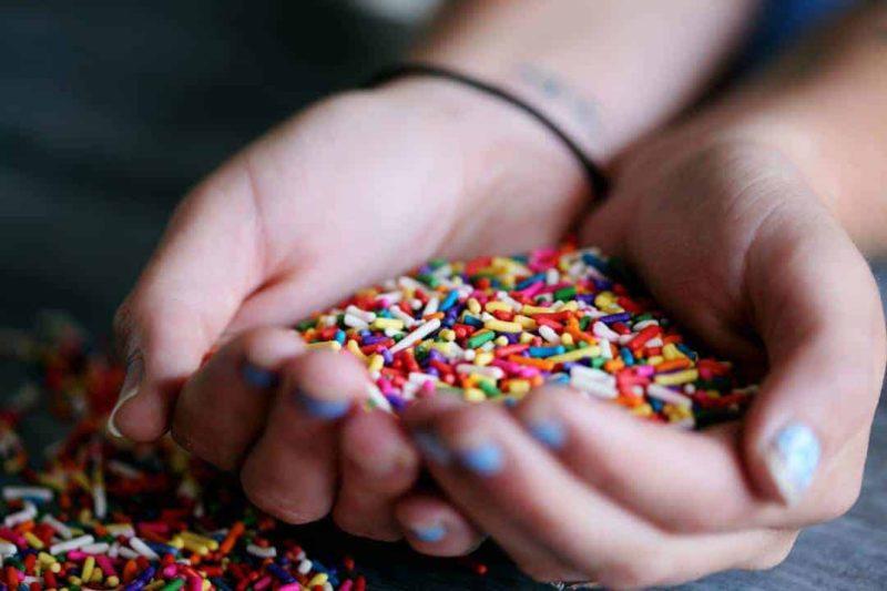 hand holding sprinkles