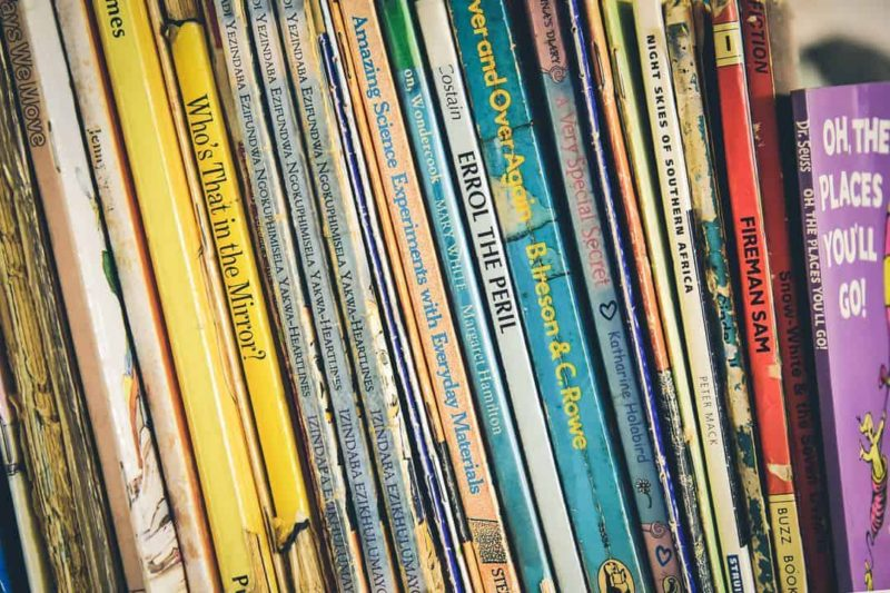 row of children's books