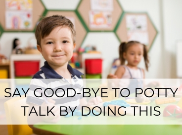 little boy smiling at camera to end potty talk in daycare