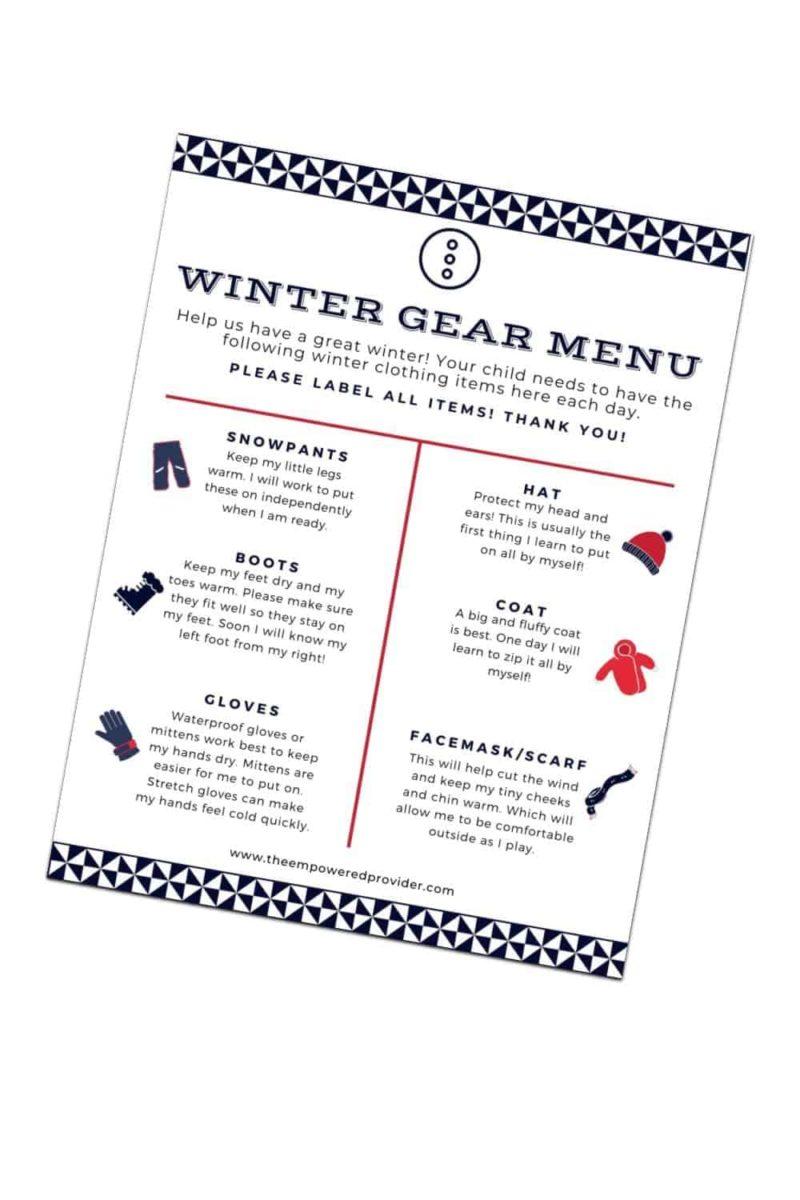 daycare winter gear