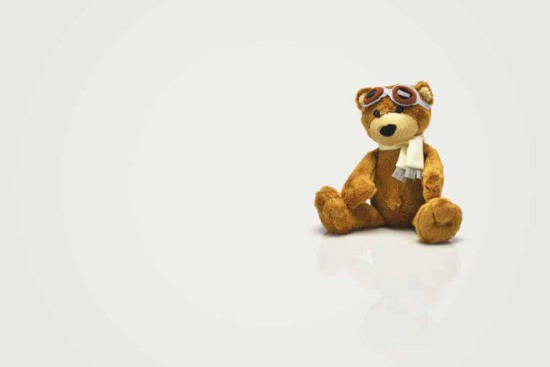 teddy bear wearing pilot gear