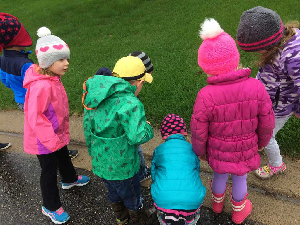 group of young kids outside looking at curb