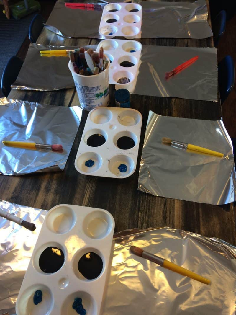 foil painting supplies laid out for sensory art