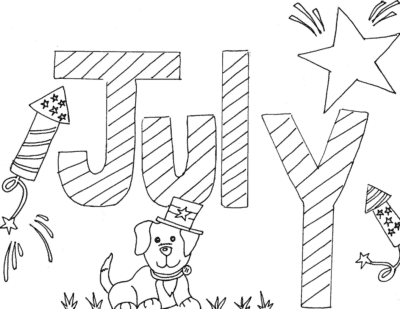 monthly calendar coloring pages july