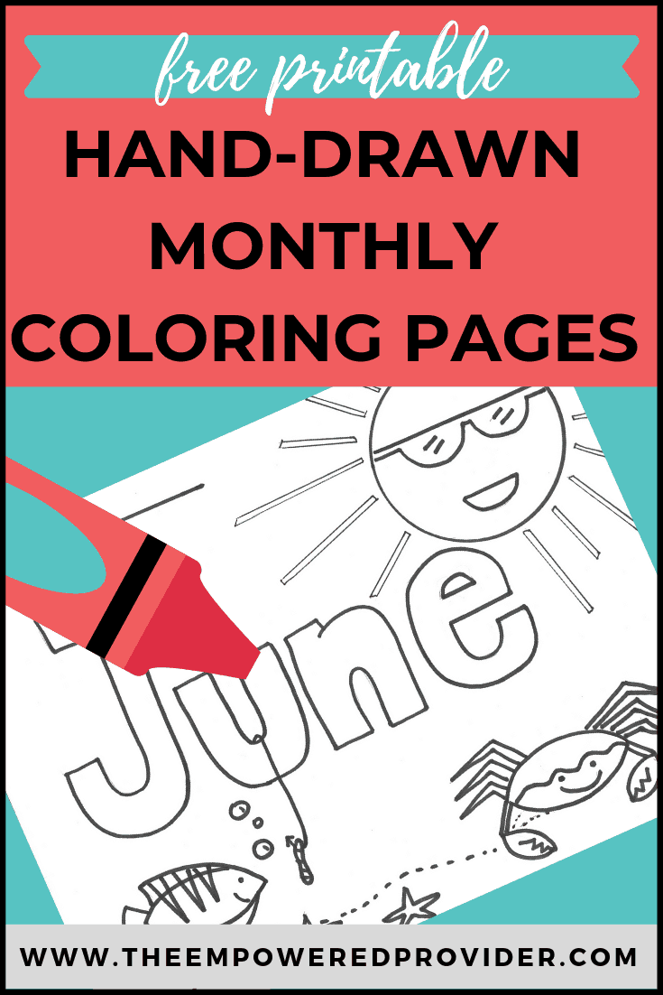 monthly coloring page