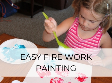 young girl making easy fourth of july art