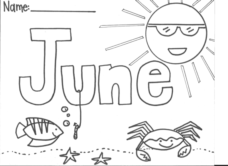 june monthly coloring page printable