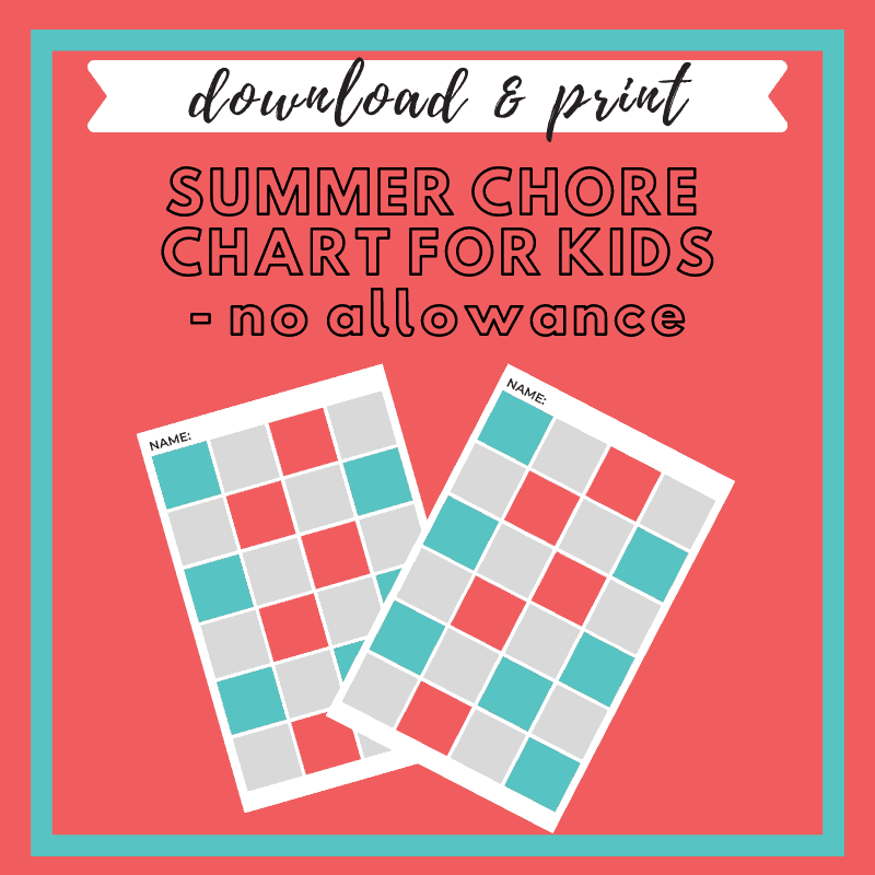 photograph relating to Summer Chore Chart Printable called No Nagging Summer months Chore Chart for Youngsters - No Allowance - The