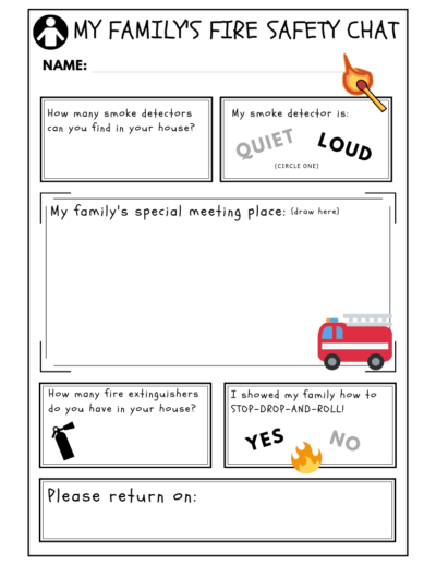 fire safety take home printable worksheet