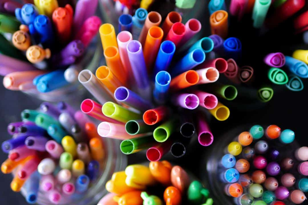 close up photo of tons of colorful markers