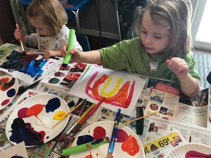 young kids doing easy paint activities