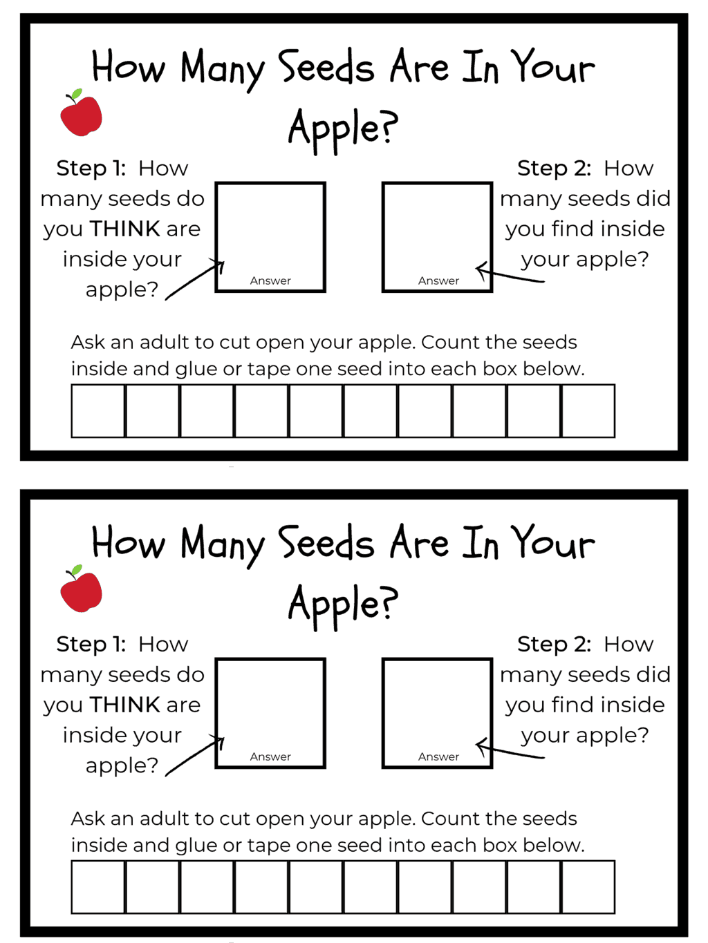 apple science math activity free printable
