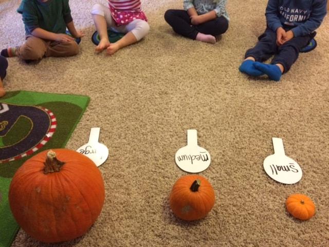 teaching kids about pumpkin sizes