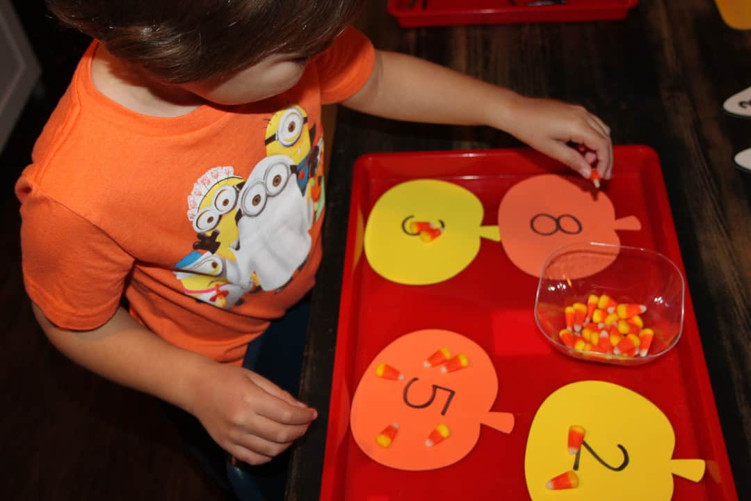 math activities for preschool with candy corn