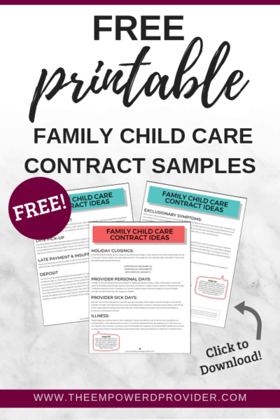 free daycare contract samples