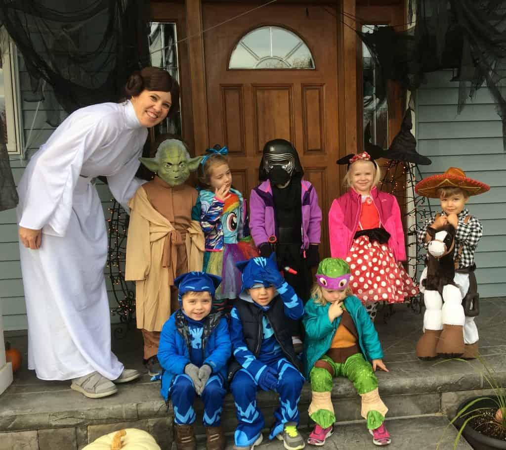 preschool halloween group in costume