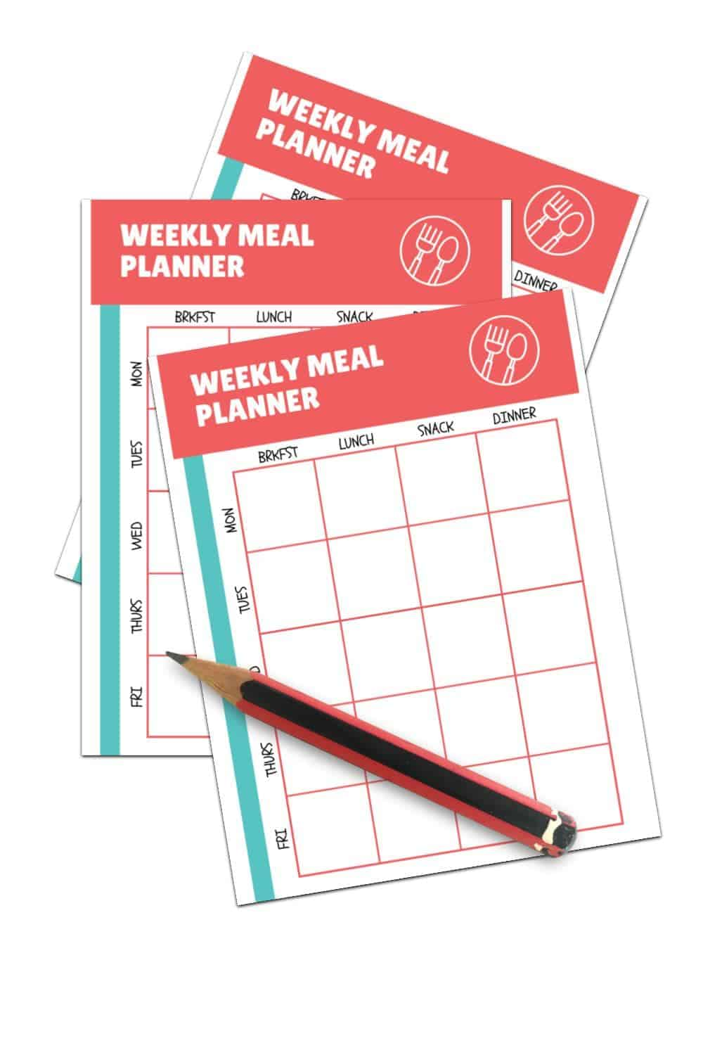 daycare weekly meal planner