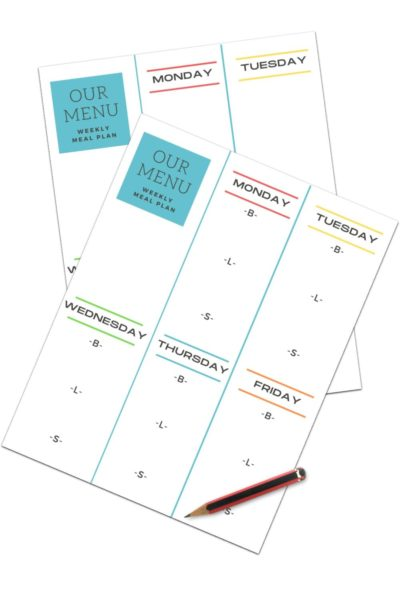 FREE DAYCARE WEEKLY MENU TEMPLATE PDF