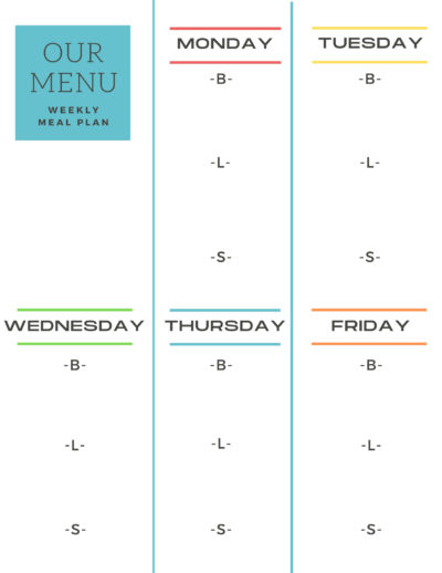 WEEKLY DAYCARE MENU TEMPLATE PDF