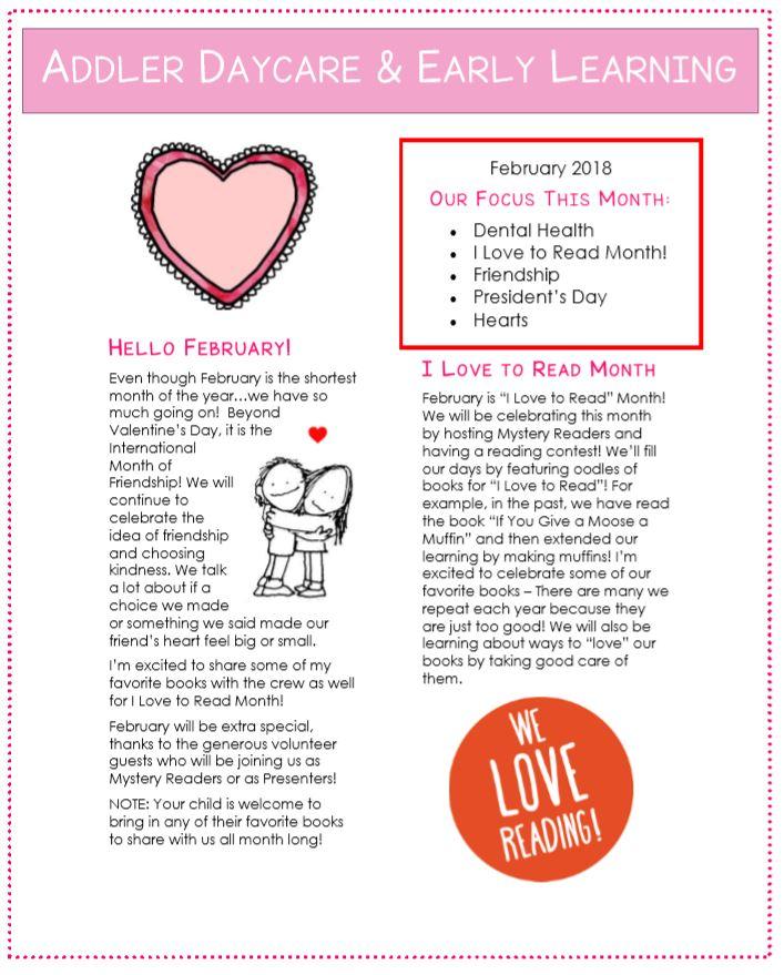 February newsletter ideas