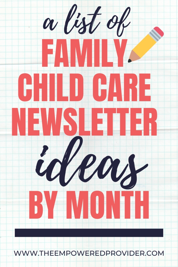 how to write a child care newsletter