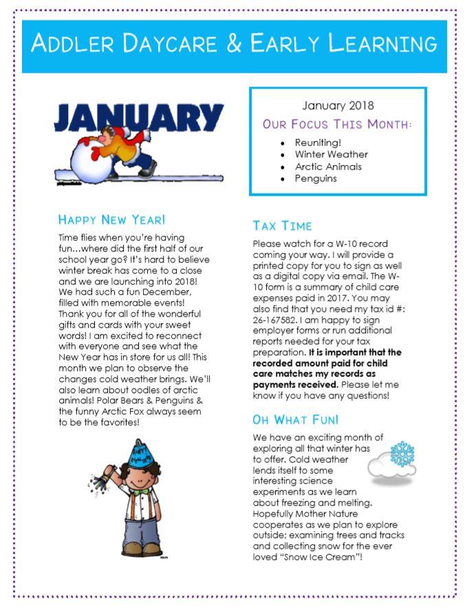 january newsletter ideas